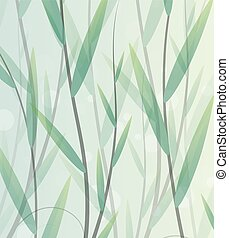 Lush thickets - lush green leaves  on a smoky background