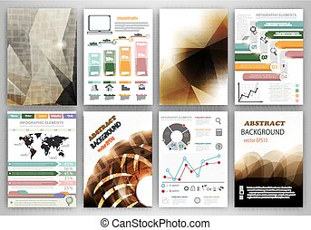 Vector infographic icons and brown backgrounds - Concept...