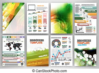 Vector infographic icons and green backgrounds - Concept...