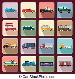 Vehicles flat icons - Set of flat icons with vehicles of...
