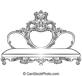 Royal Sofa in Baroque style with damask luxurious round...