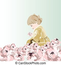 Little baby girl playing in a garden of peonies flowers....
