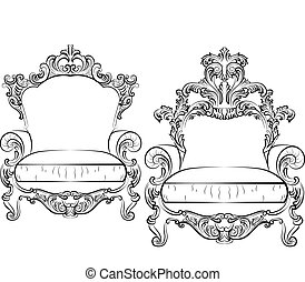 Elegant armchair set with luxurious rich ornaments. Baroque...