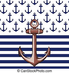 Nautical or marine themed pattern with anchor