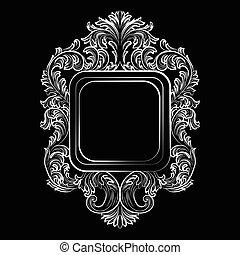 Baroque Rococo Exquisite Mirror frame decor. Vector French...