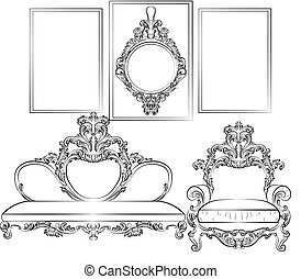 Royal Sofa and Frames set in Baroque Rococo style with...