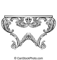 Exquisite Rich Rococo Table. French Luxury rich carved...