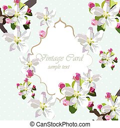 Vintage Card with spring delicate flowers