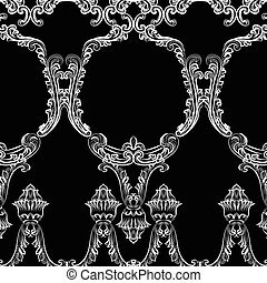 Rococo frame decor pattern. Vector French Luxury rich carved...