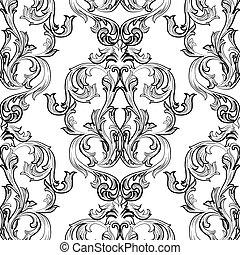 Vintage Damask Pattern ornament - Vector Vintage Damask...