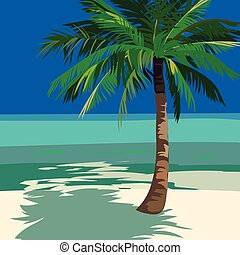 Summer Beach Ocean view with Palm tree. Vector background...