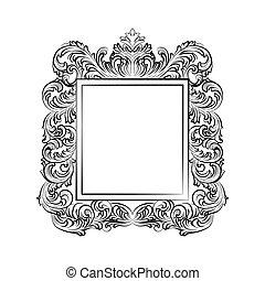 Exquisite Baroque Rococo Mirror frame. Vector French Luxury...