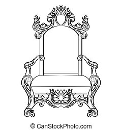Baroque luxury style furniture. Chair throne with luxurious...