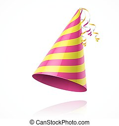 Birthday party hat - Striped party hat vector illustration