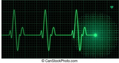 Green heart pulse illustration on black background,...