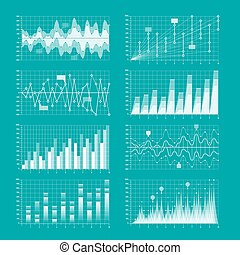 Business statistics, charts and graphs infographic elements...