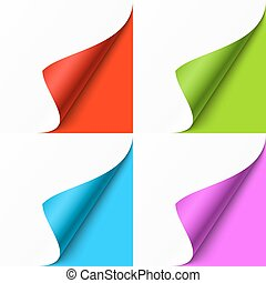 Curled colored corners set