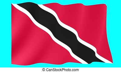 Flag of Trinidad. Waving flag (PNG) computer animatie. -...