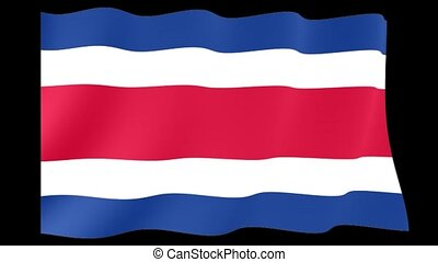 Costa Rican flag. Waving. - Flag animation for using in...