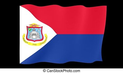 Flag of Sint Maarten. Waving - Flag animation for using in...