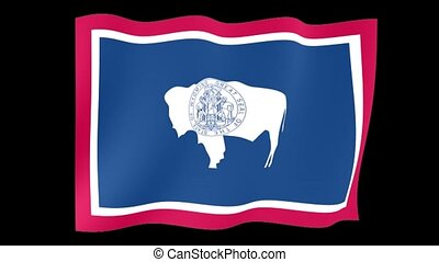 Wyoming State flag. Waving PNG. - Flag animation for using...