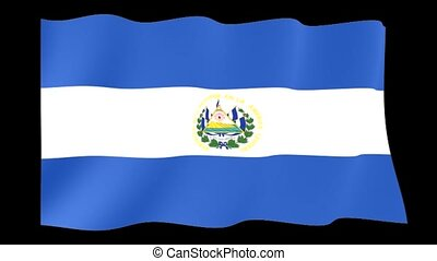 El Salvador flag. Waving - Flag animation Background deleted...