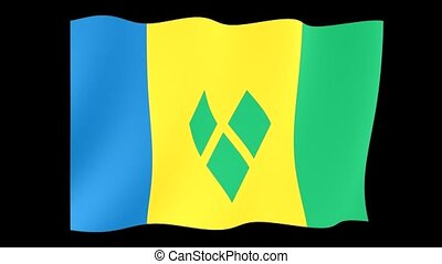 Vincentian flag. Waving - Flag animation for using in foto's...