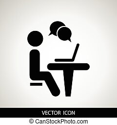 Businessman working on computer. Web icons for business, finance and communication. Vector.