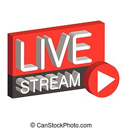 Live stream 3D button sign live webcast, the vector air...