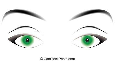 hypnotizing green eyes, enticing eyes with a loving gaze, a...