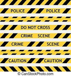 set yellow police tape enclosing for forensics and yellow...