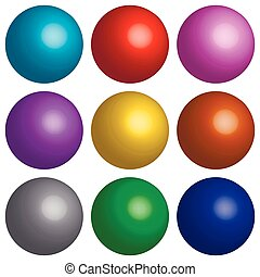 set 3D balls - set 3D balloons, collection of colorful...