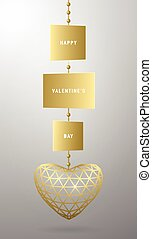 Vector illustration of valentines day card with golden...