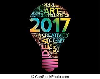 2017 Creative Ideas bulb word cloud concept