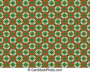 Abstract Ornament pattern design in green and red. Vector