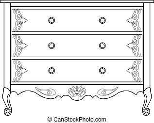 Classic commode with damask ornaments - Classic commode with...