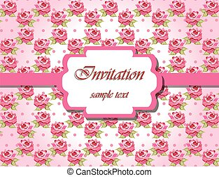 Invitation card with pink roses