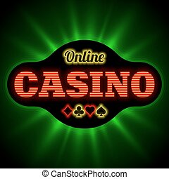 Online casino banner with playing card suit vector...