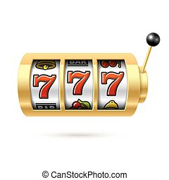Slot machine with lucky sevens jackpot - Vector illustration