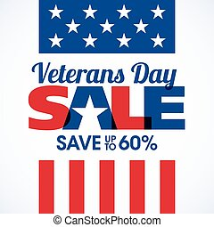Veterans Day Sale banner or poster template