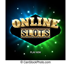 Online slots casino banner - Vector illustration