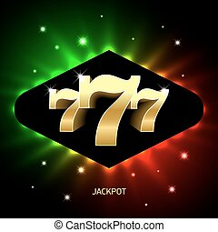 Triple sevens casino jackpot banner, lucky numbers 777.
