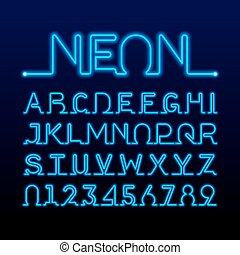 One thin line neon tube font