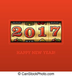Happy New Year 2017 greeting card with slot machine and...