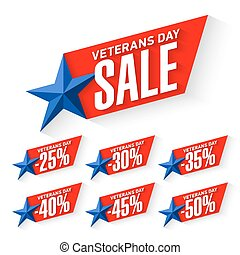 Veterans Day Sale stickers, signs illustration