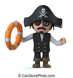3d Cute pirate captain character rescues you from drowning -...
