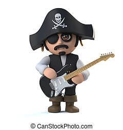3d Cute pirate captain character plays electric guitar - 3d...