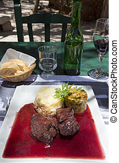 Perfect Argentinian meat meal with wine from Salta, Molinos...