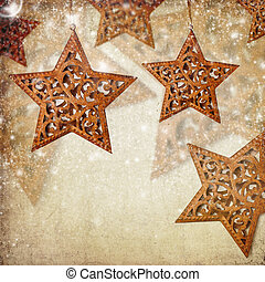 Christmas vintage background with stars and bokeh