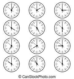 clock old in black color set design illustration